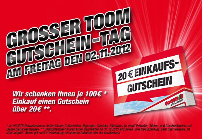 Toom Baumarkt: 20€ Gutschein bei Einkauf von 100€ geschenkt - nur morgen Freitag in den Filialen!
