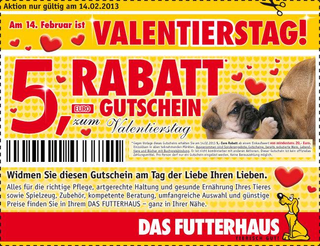 Tiernahrung: 5/10/15% Rabatt Gutscheine für Fressnapf online - 5€ Gutschein für Das Futterhaus offline (nur am Valentinstag)
