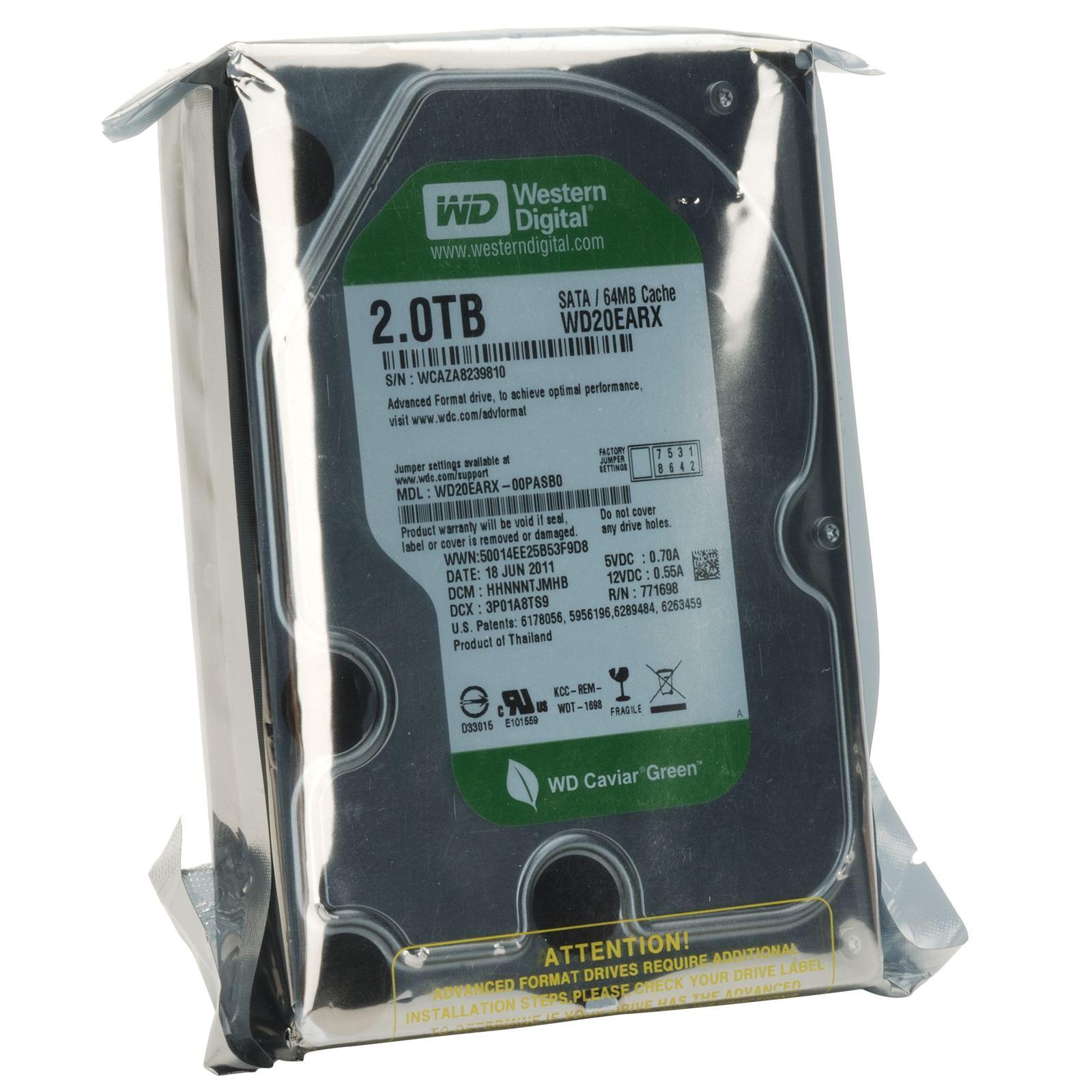 Жесткий диск western digital 2tb green, wd20ezrx, 35, 5400rpm, 64mb, sata3