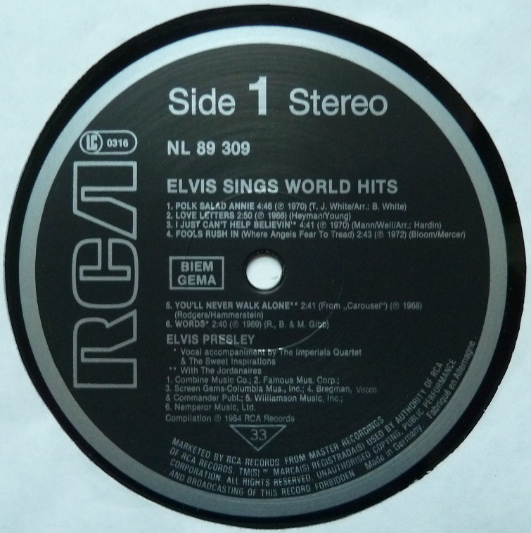 ELVIS SINGS WORLD HITS Worldhitslabel18zo60