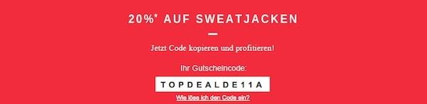 Zalando - 20% Rabatt auf Sweatjacken