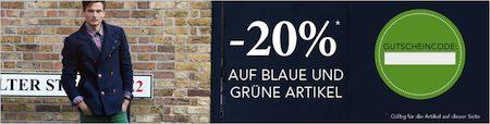Zalando - 20% blaue grüne Artikel
