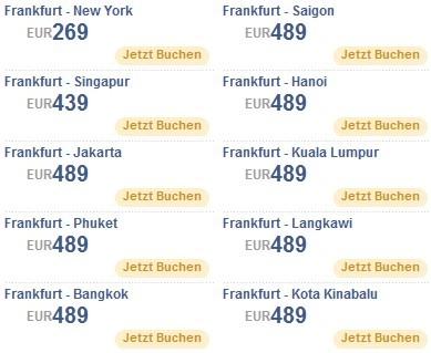 Singapore Airlines Flugziele