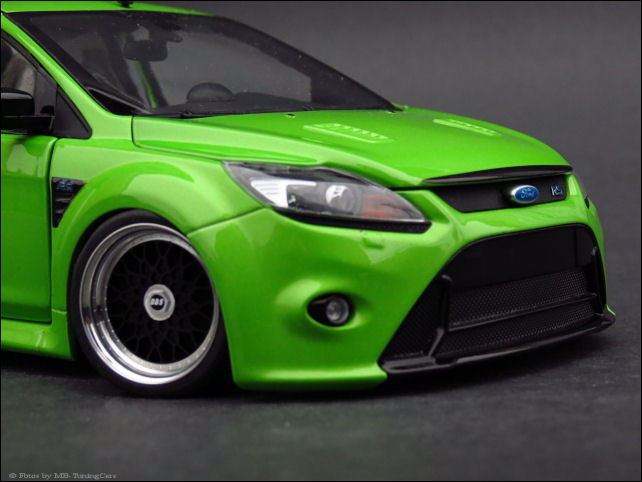 1 18 tuning ford focus rs 500 2010 green vert bbs vraiment jantes alu transformation neuf. Black Bedroom Furniture Sets. Home Design Ideas