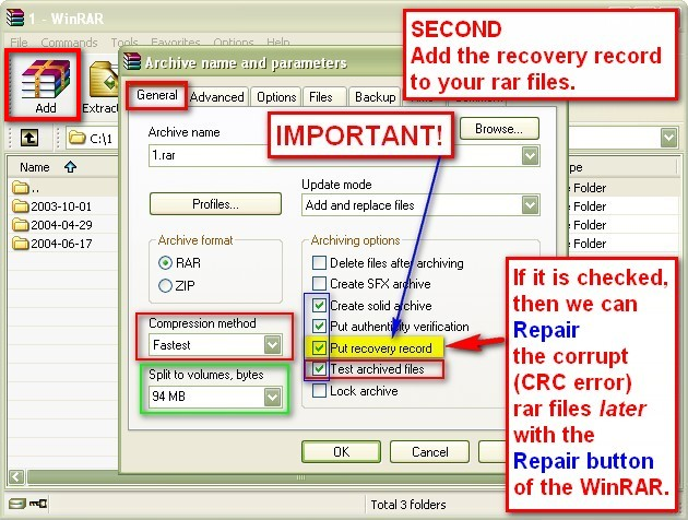 Sensible Sharing: WinRAR - Use Recovery Record and then we