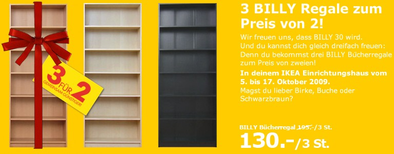 ikea billy 3 f r 2 aktion. Black Bedroom Furniture Sets. Home Design Ideas