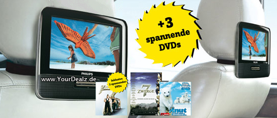 dvd f rs auto philips pet7402d dvd player 2 monitore. Black Bedroom Furniture Sets. Home Design Ideas