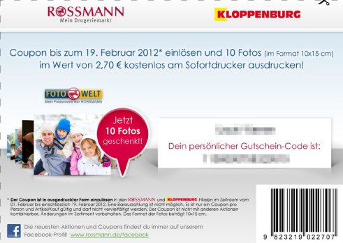 facebook coupon f r 10 kostenlose fotos bei rossmann. Black Bedroom Furniture Sets. Home Design Ideas