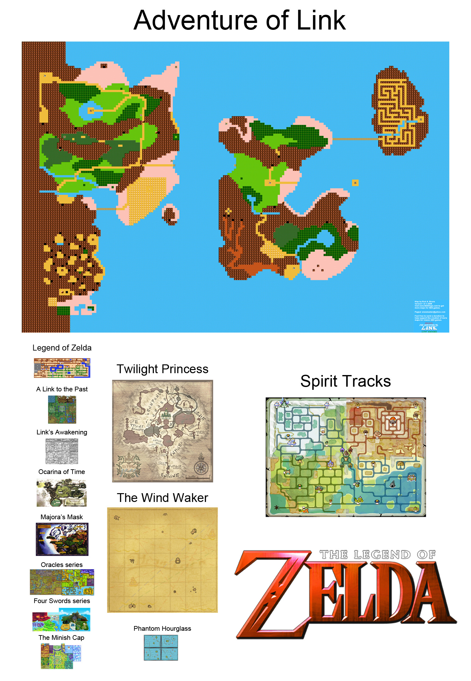 Zelda Maps To Scale 2 0 Now With All The Lands 56k Be